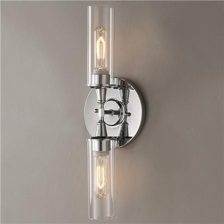 Master Bathroom Vanity Double Bullet Glass Wall Sconce