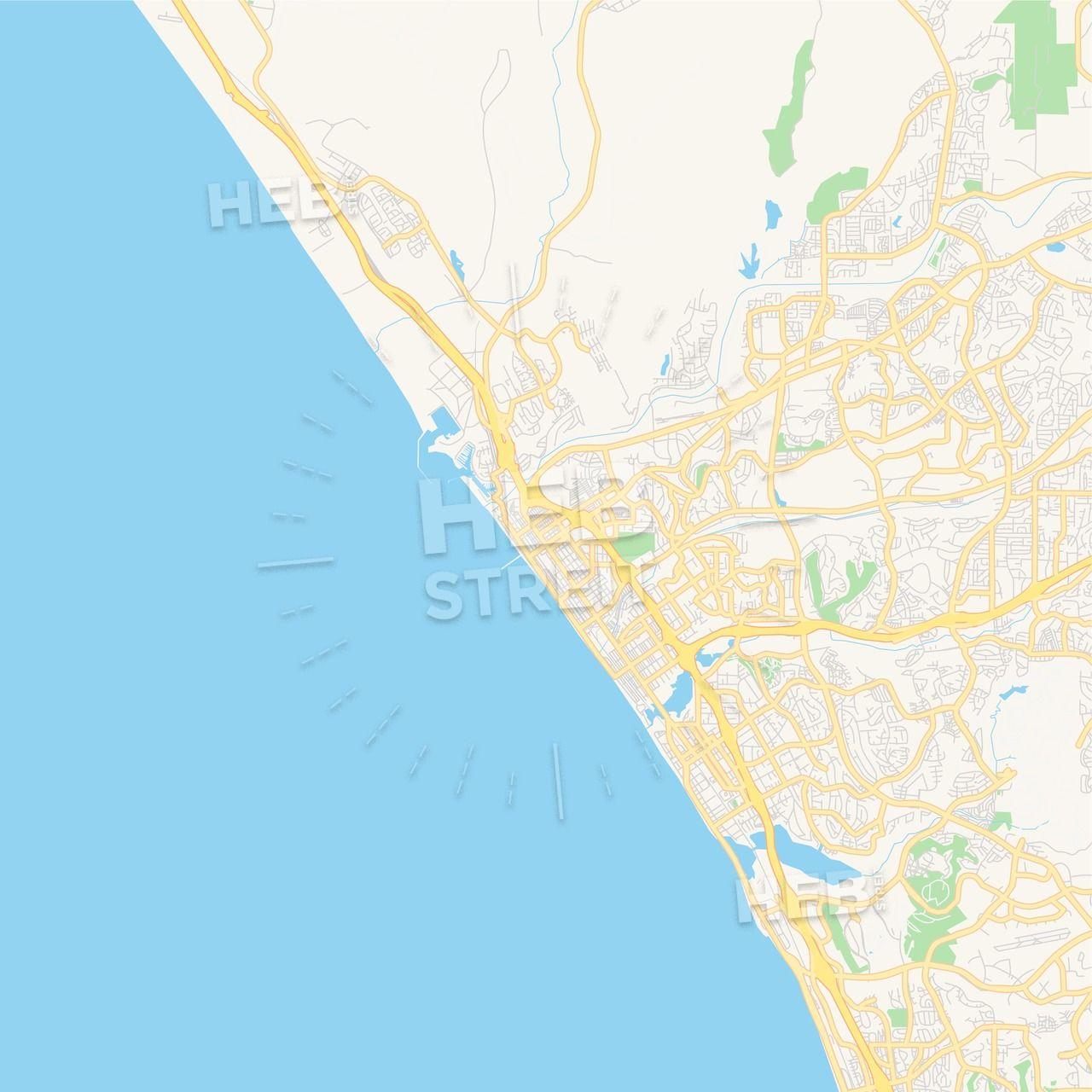 Empty vector map of Oceanside, California, USA   Maps Vector ...