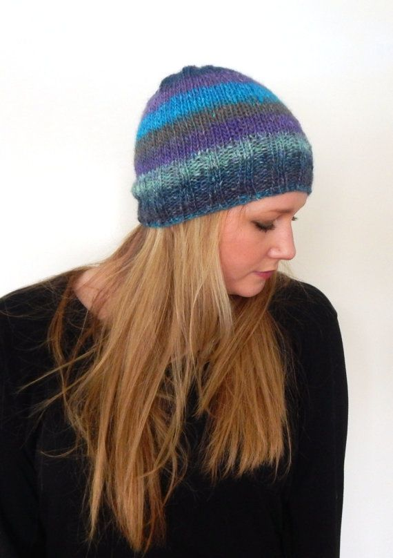Hand Knit Cap  Beanie Cap  Ombre Striped  Imported by CdCkDesign