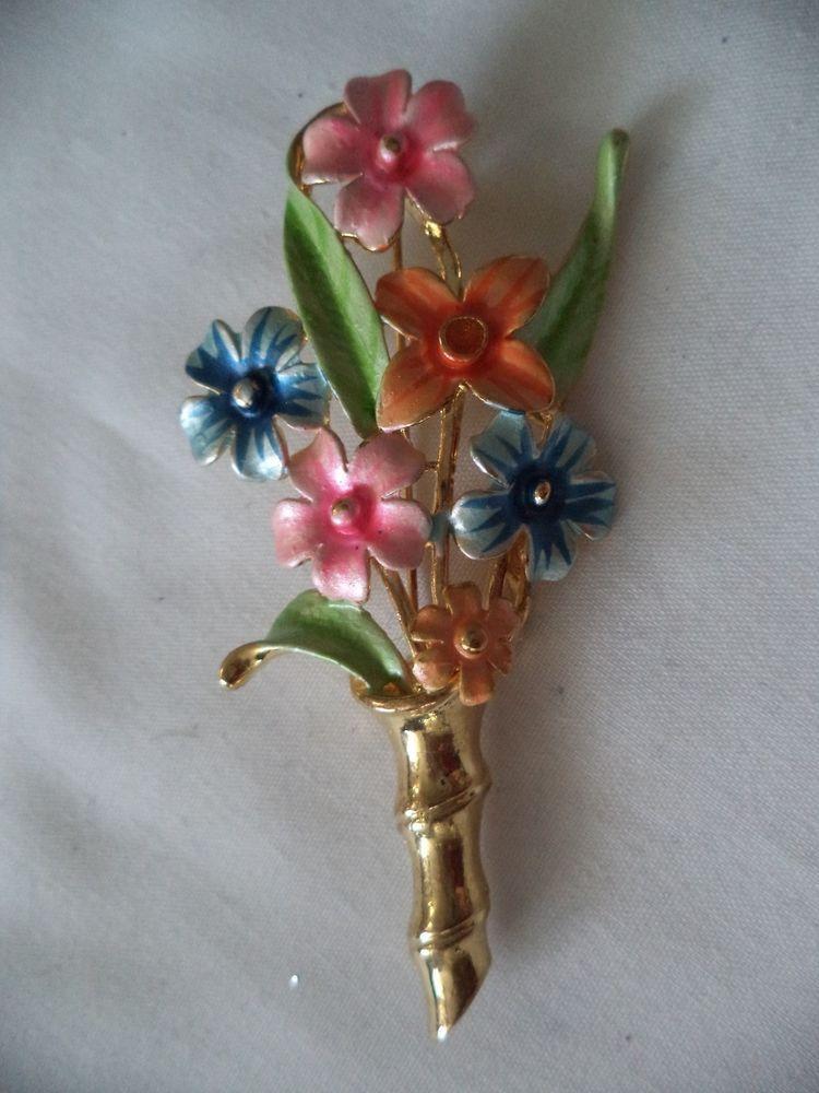 STUNNING NEW OLD STOCK GOLD TONE GLITTER ENAMEL BOUQUET FLOWER BROOCH! LOT Z167