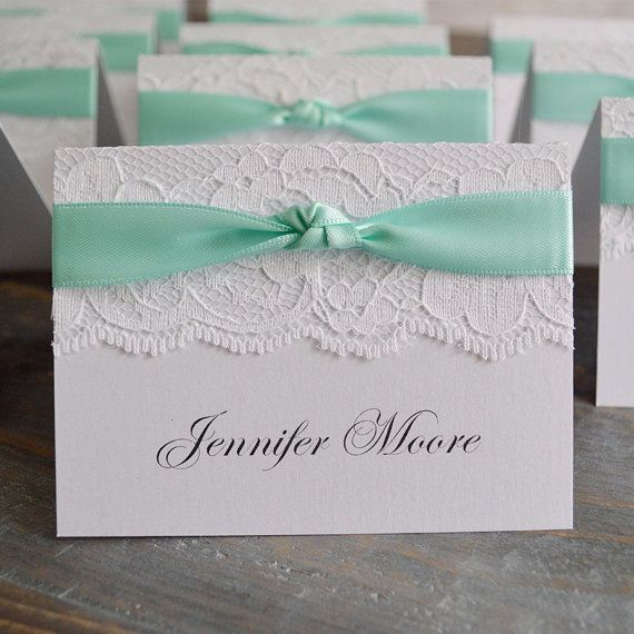Knot Lace Place Card-Lace Escort Card - Ribbon and Lace - Custom