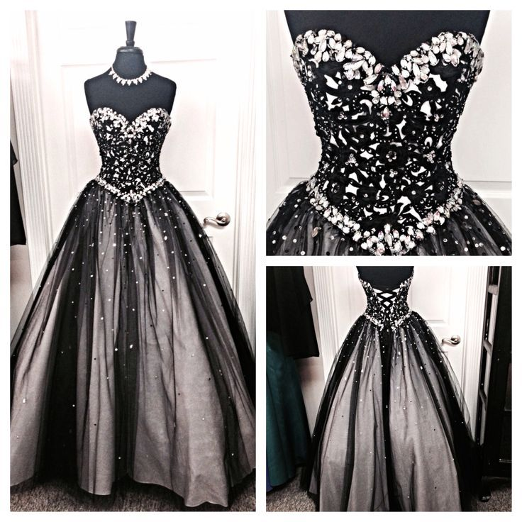 Black White Tulle Long Evening Prom | Beaded prom dress ...