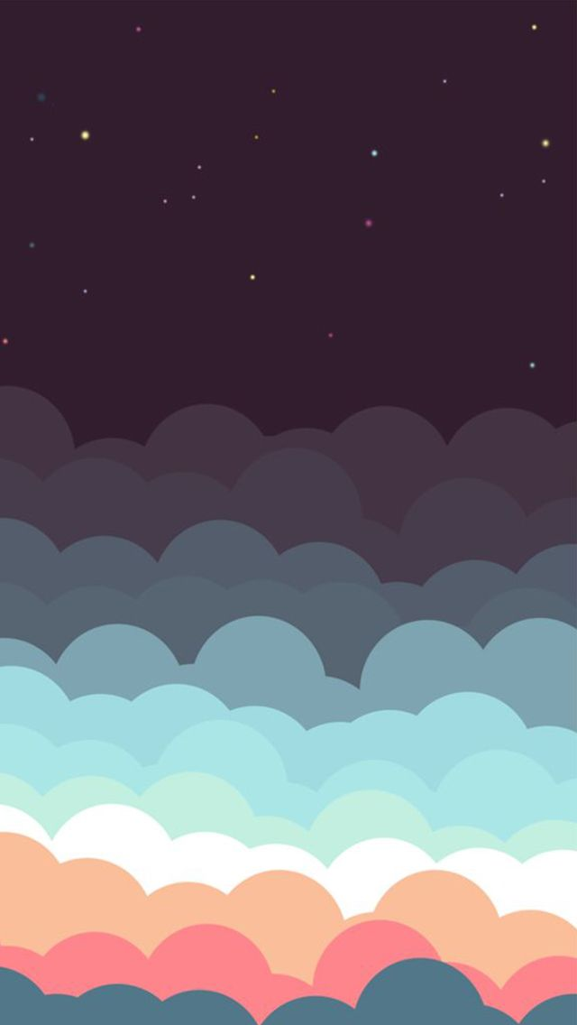 colorful clouds and stars illustration iphone 5 wallpaper ipod