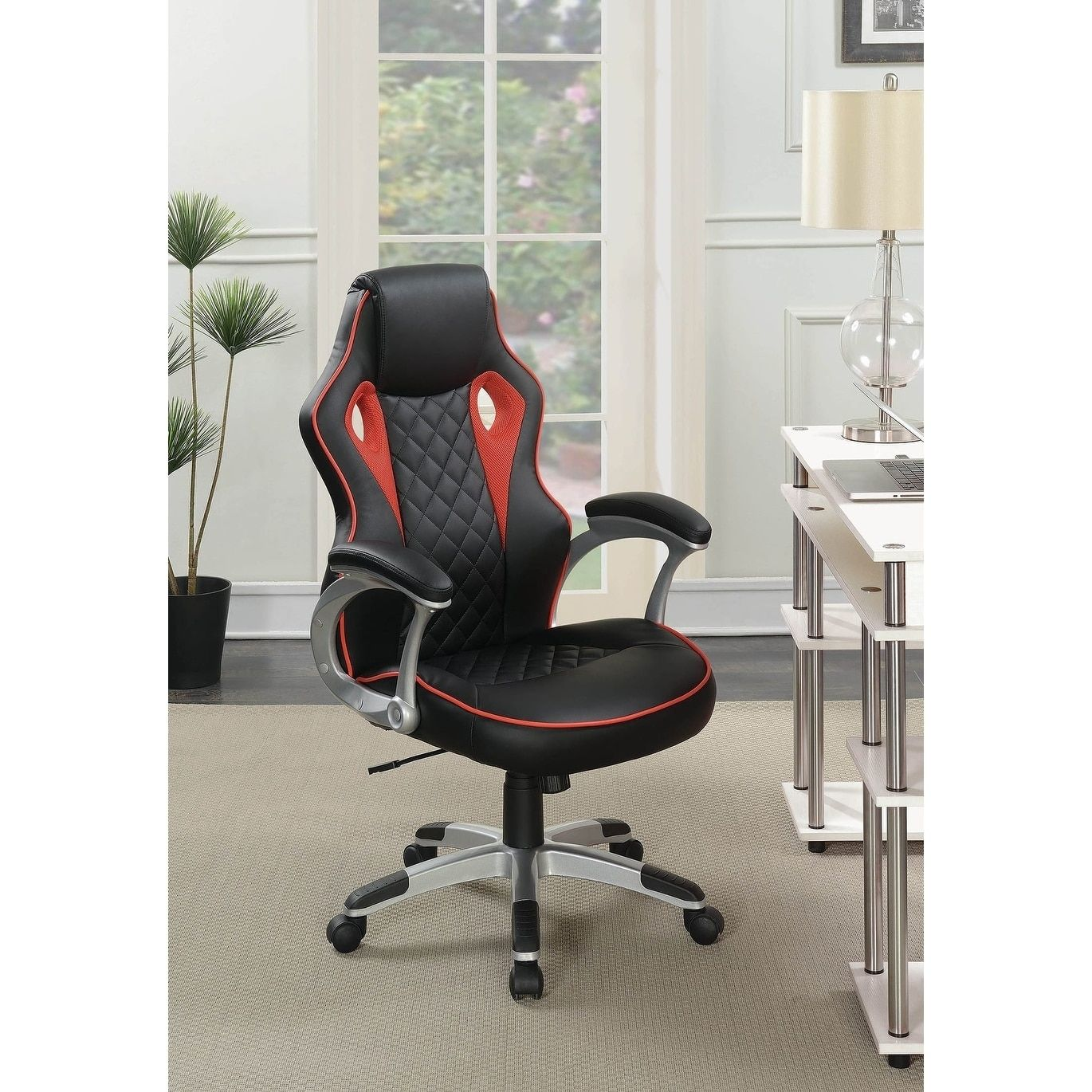 Tisbury Black and Red Swivel Office Chair with Casters