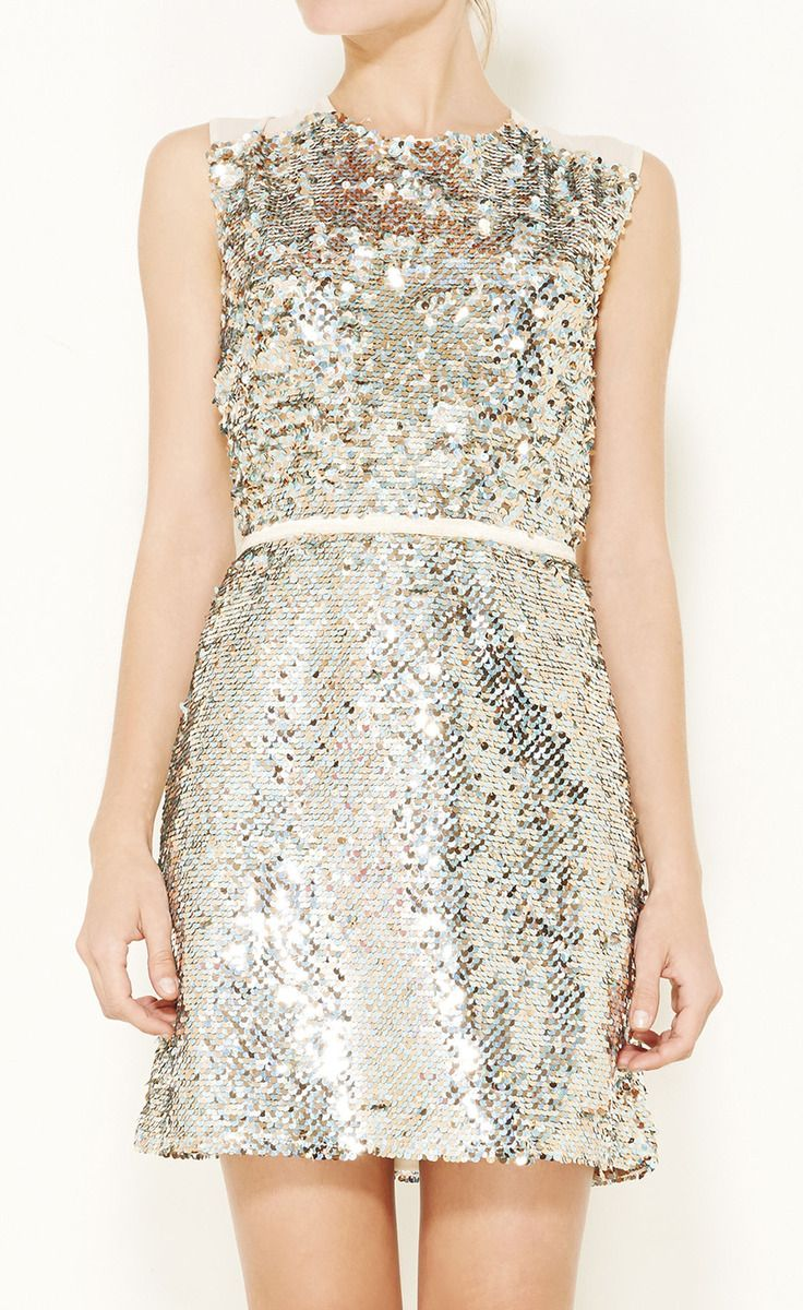Erin Fetherston Metallic Nude And Teal Dress