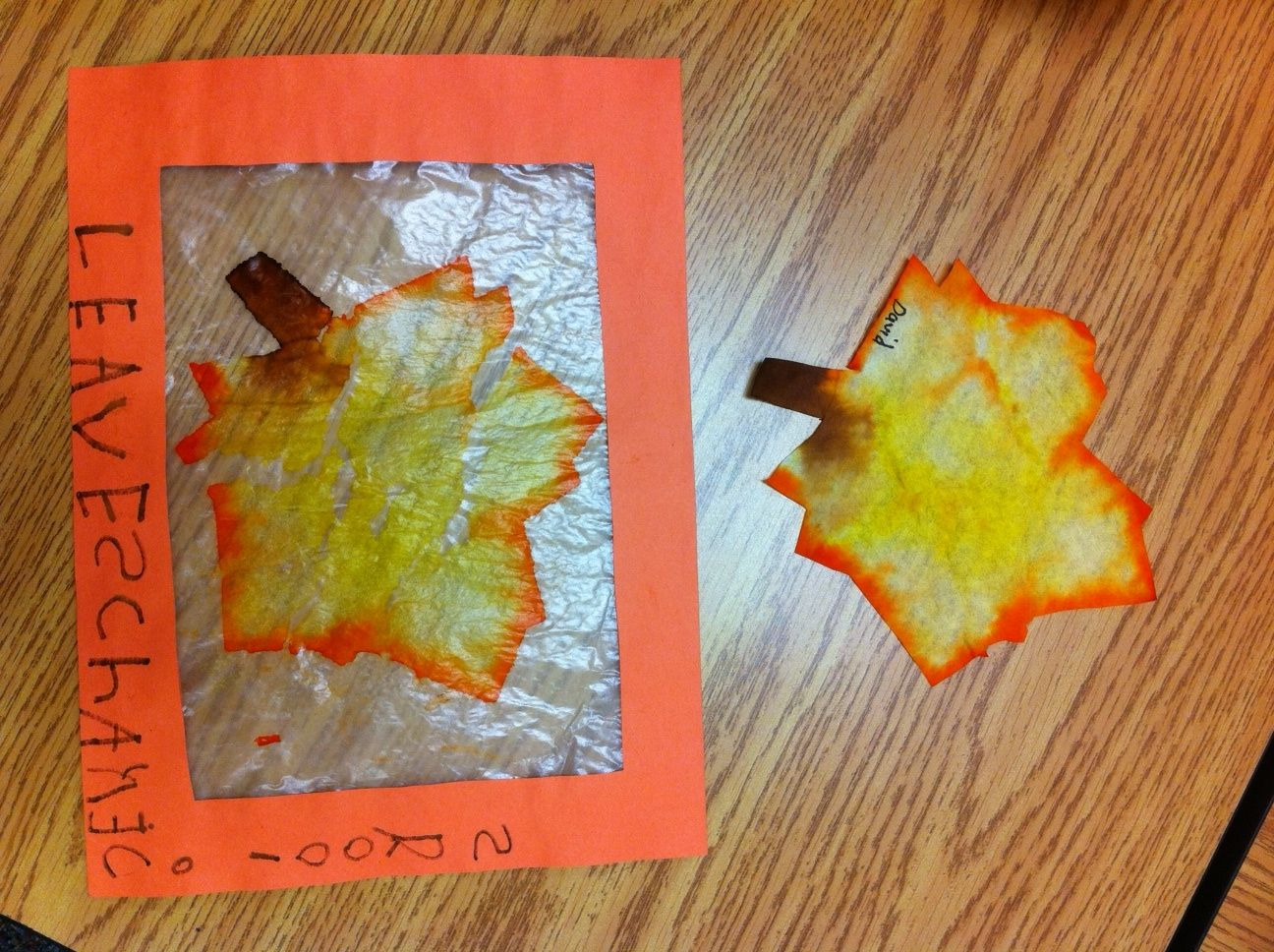 Art & Writing Activity In One Project. Cut A Leaf Shape