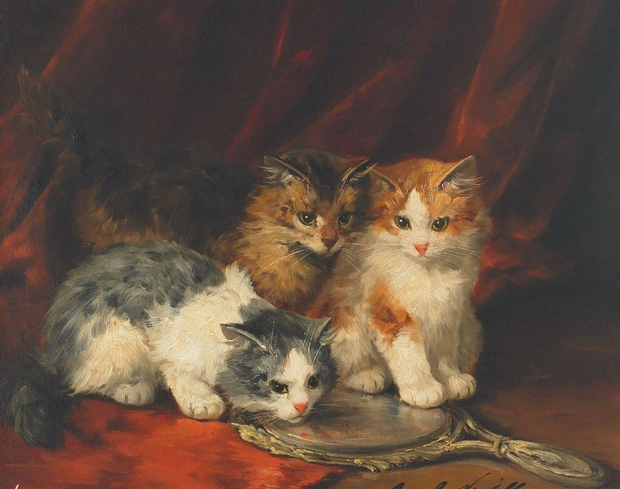Hand painted oil painting reproduction on canvas of cat for Cat paintings on canvas