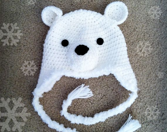 Polar Bear Crochet Hat Size Newborn by LittleMonkeysCrochet, $21.00 ...