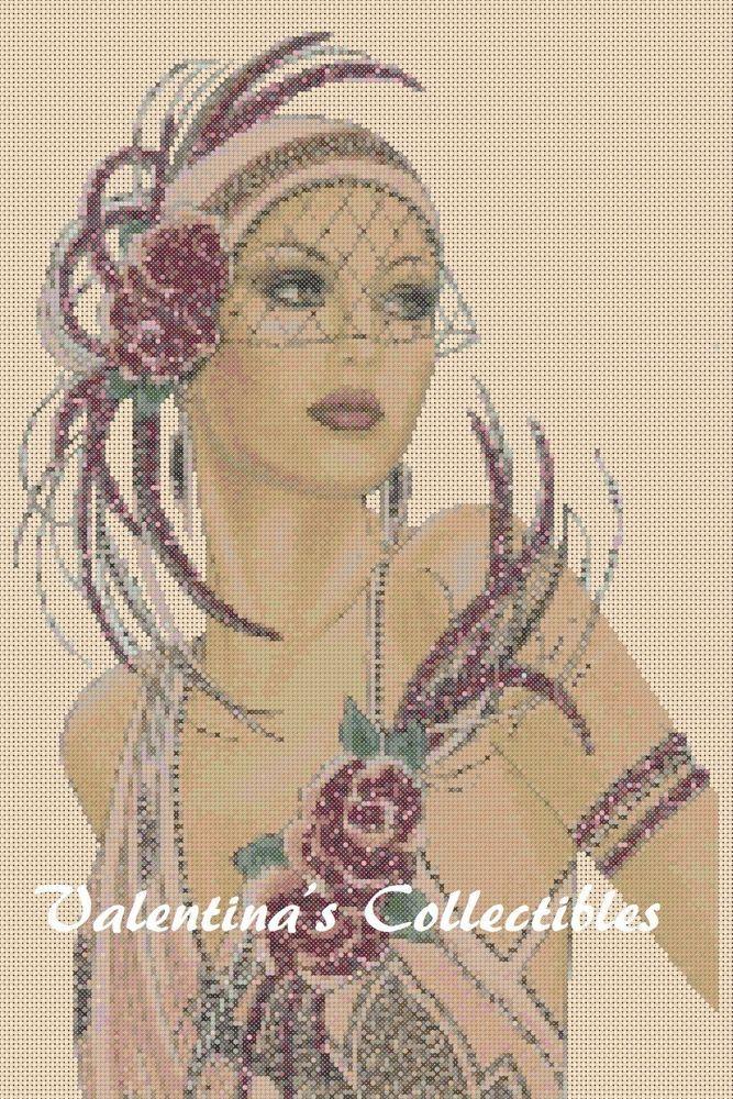 Cross stitch chart  Art Deco Lady  No 12 Flowerpower37-uk FREE UK P/&P......