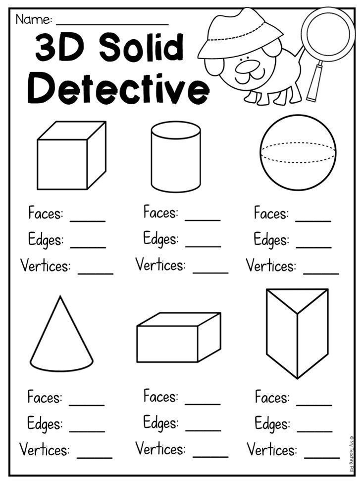 3D Solid Detective. Worksheet for students to count faces