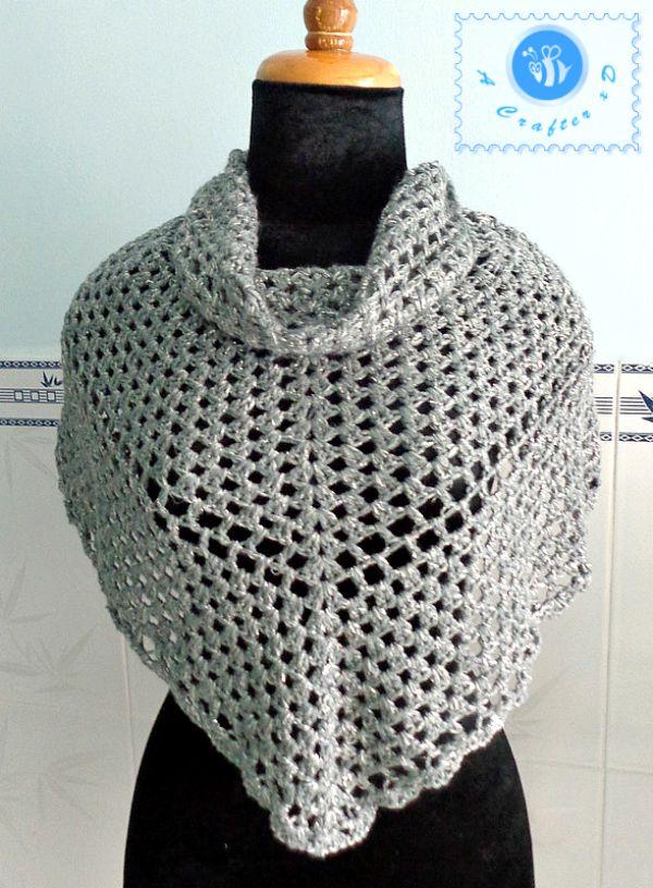 crochet silver glam shawl, crochet shawlette, crochet shawl free ...