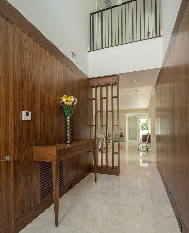 holzwand verkleidung flur gestaltung ideen stilvoll espaces ouverts pinterest holzwand. Black Bedroom Furniture Sets. Home Design Ideas