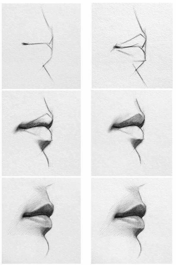 How To Draw A Realistic Mouth Side View Just Art Things