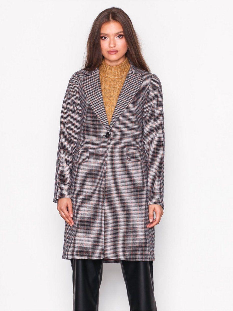 e1d2843c292 Houndstooth Check Coat - New Look - Brown - Jakker - Klær - Kvinne - Nelly