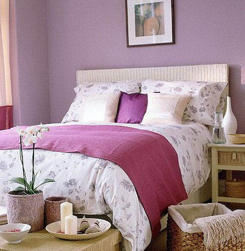 Cream and lilac color in the bedroom Bedroom decor, Home