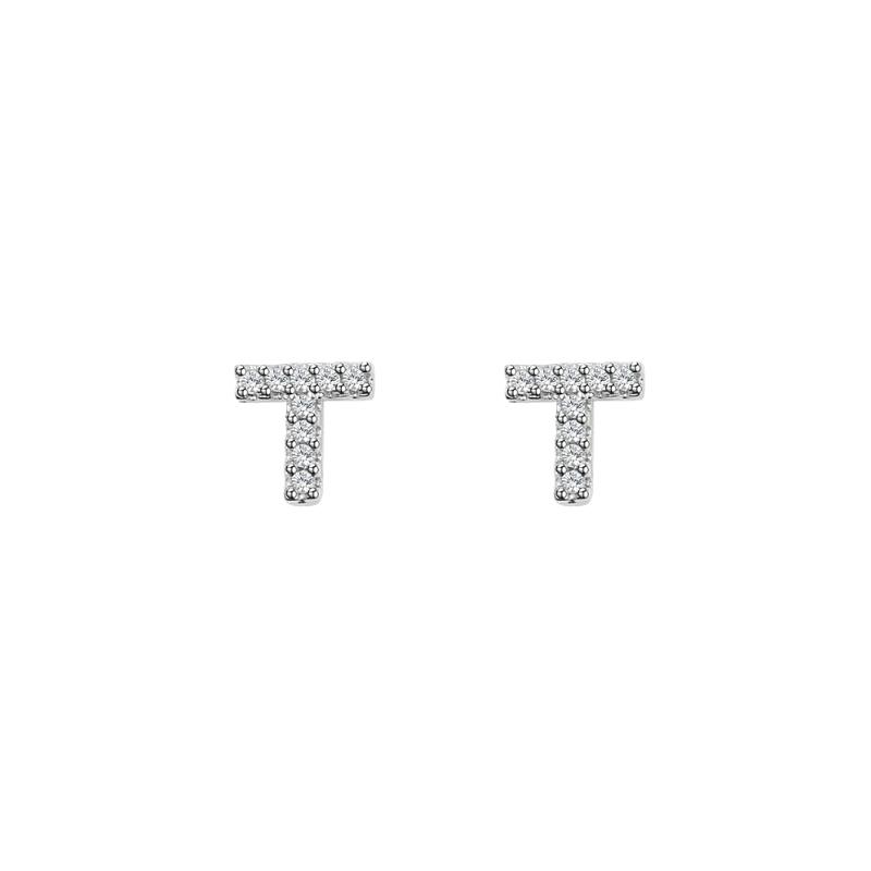 Letter T Stud Earrings In 2021 Letter T Initial Earrings Studs Lettering