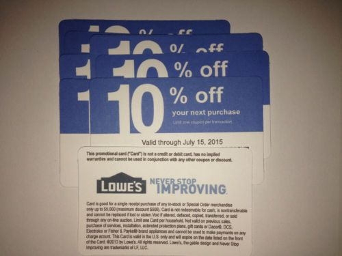 Lowe's 10% off coupons via eBay. Click to purchase from $1.