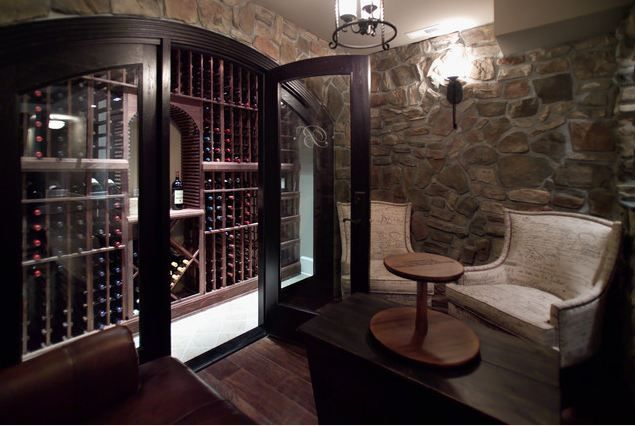 Wine Cellar And Tasting Room A Single Wall Behind Glass And A