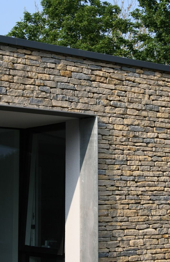 Just because I like the brick/stone work with big windows and black - Fenetre Pour Maison Passive