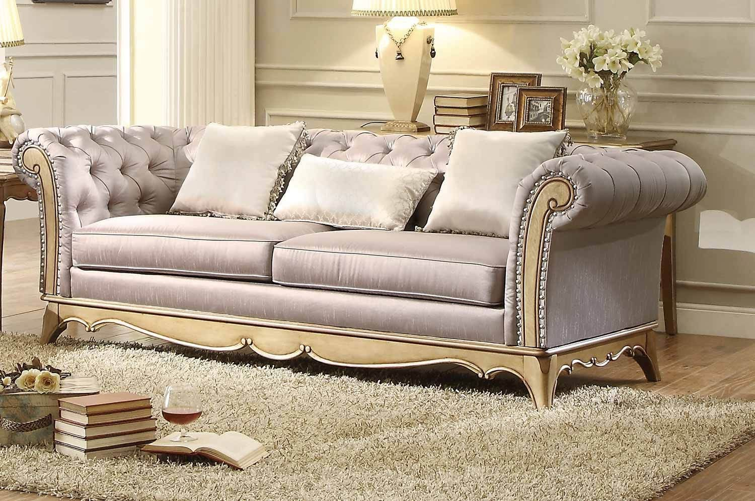 Stunning Faux Silk Upholstered Traditional Tufted Sofa
