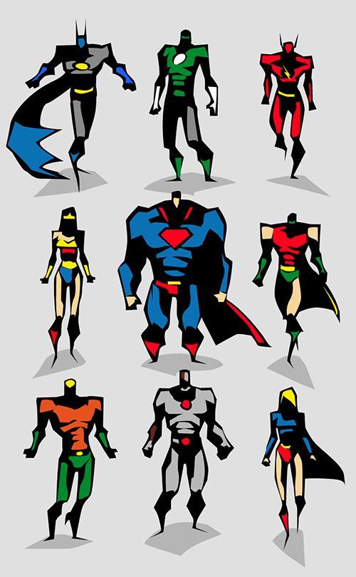 Marvel Character Design Behance : Marvel dc motu vector sketches on character design served