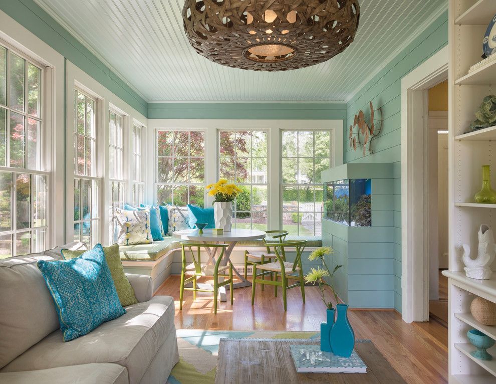 Sunroom Wall Color Ideas Beach Style With Built In Aquarium Basket Weave Chandeilier Blue Walls