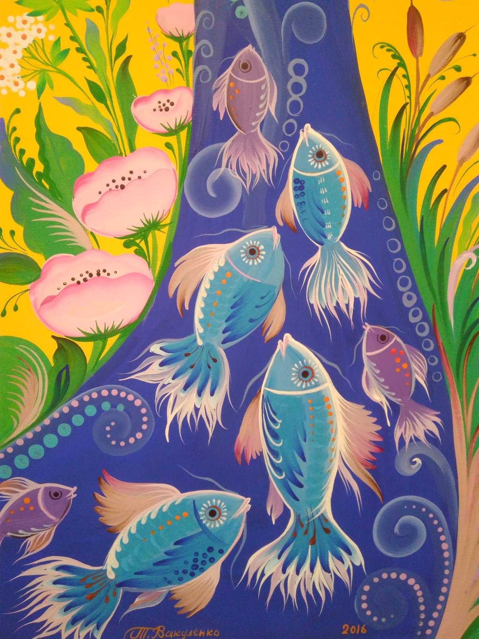 Хохлома картинки узоры рыбки