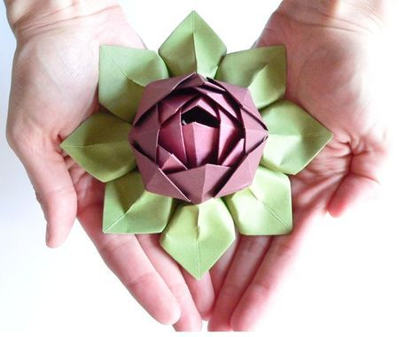 Handmade Paper Flower Origami Lotus Flower Decoration Or Favor