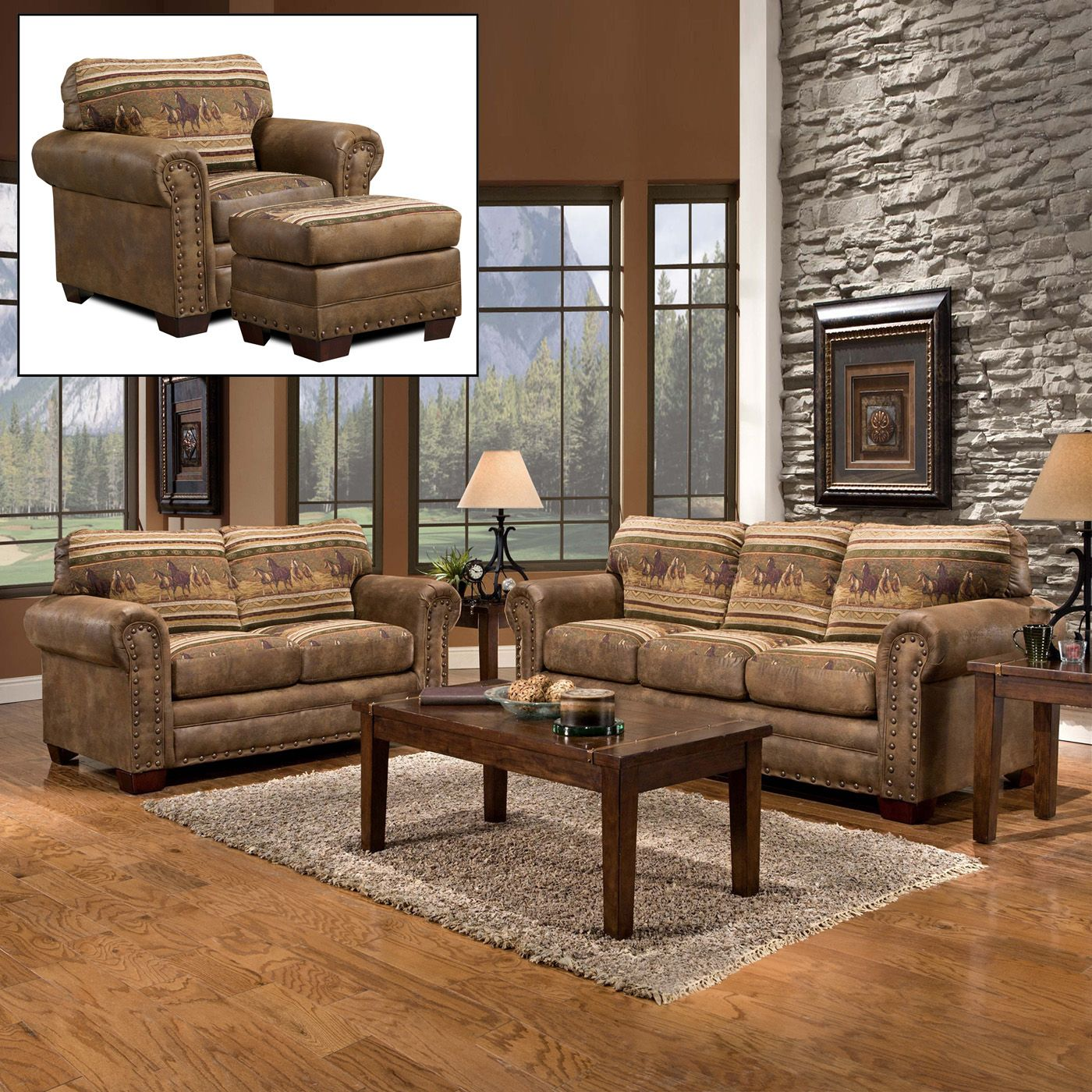 shop american furniture classics american furniture 8500 40k wild horses sofa set at atg stores. Black Bedroom Furniture Sets. Home Design Ideas
