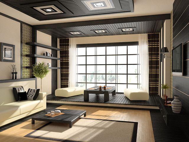 Home Interior Design Simple Geometric Oriental Living Room