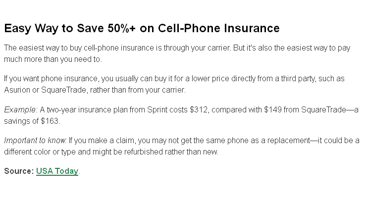 If You Want Phone Insurance You Usually Can Buy It For A Lower