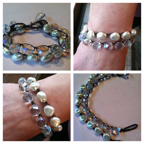 Special Bride on a budget Set of TWO Crystal and Pearl Crochet bracelets Bride or Bridesmaids