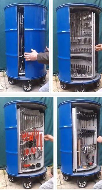 Photo of Almacenamiento de herramientas en bidón metálico – Ideas manualidades y bricolaje DIY