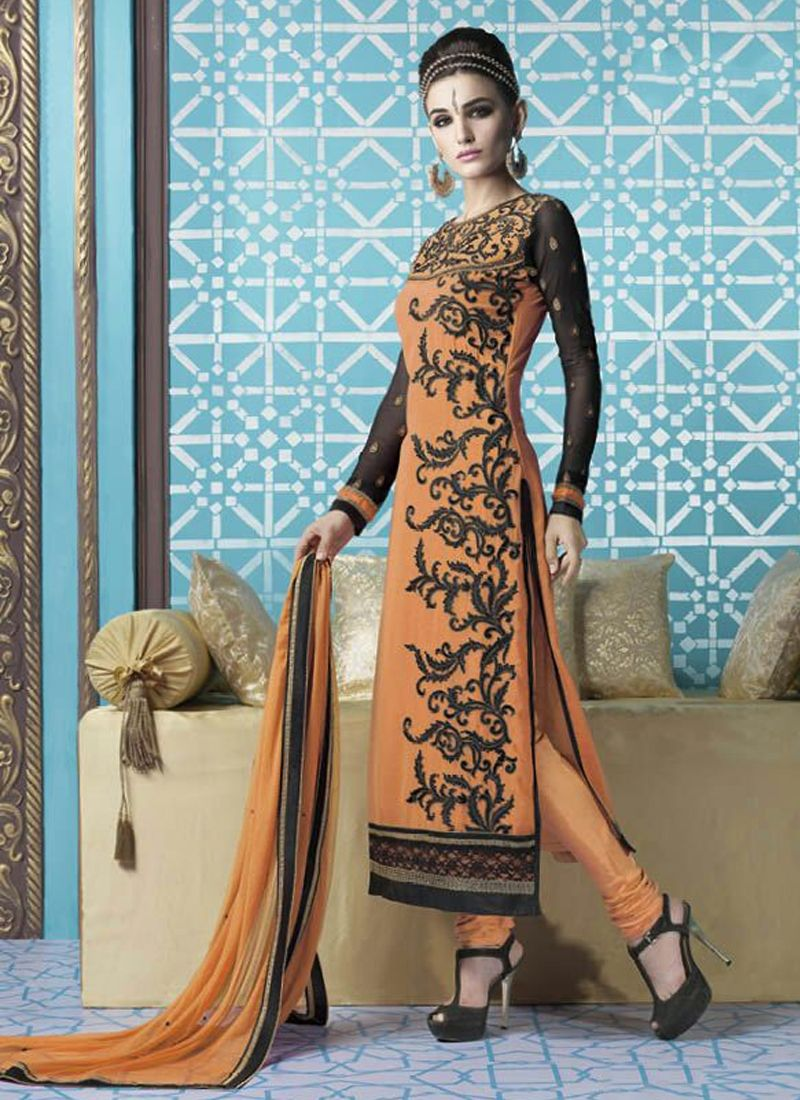 Designer salwar kameez mesmeric peach color net designer suit - True Beauty Can Come Out From Your Dressing Design With This Peach Georgette Designer Straight Salwar