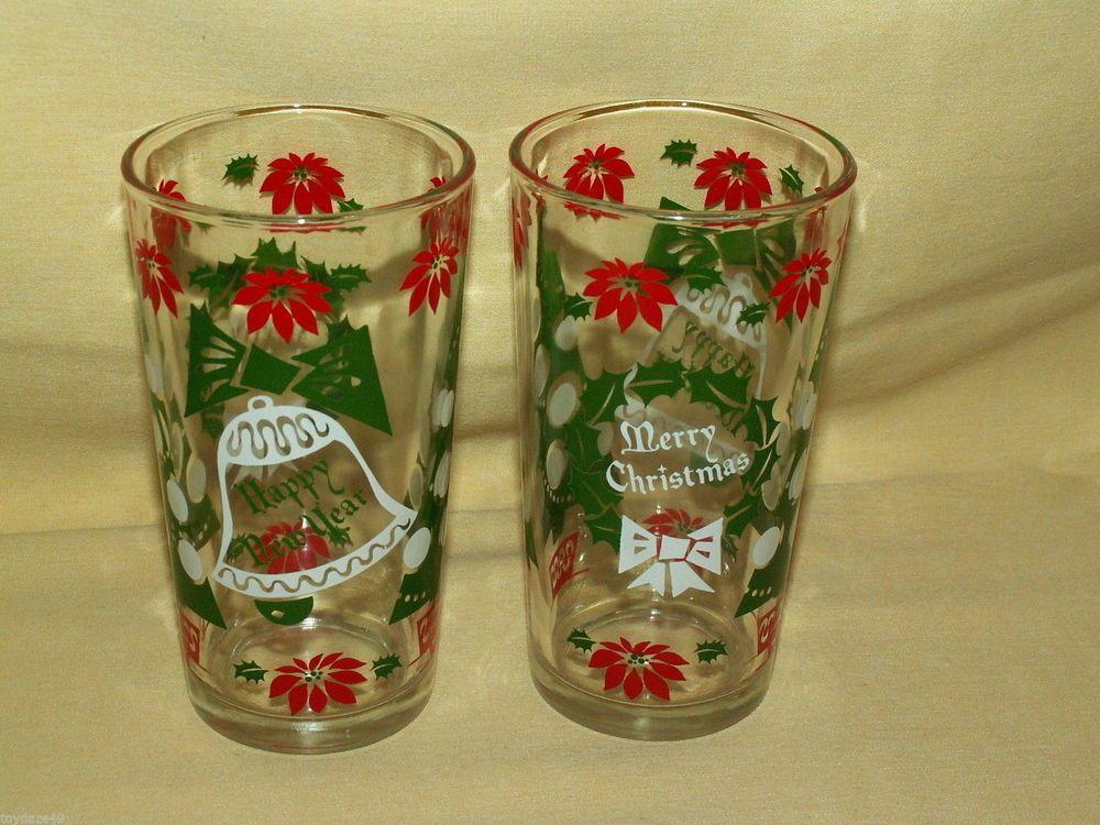 CHRISTMAS GLASS TUMBLER SET 2 HAPPY NEW YEAR WREATH