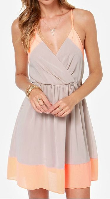 c8eff9e55d Exclusive Raise the Stakes Peach and Beige Dress
