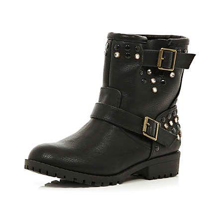 Girls black embellished biker boots