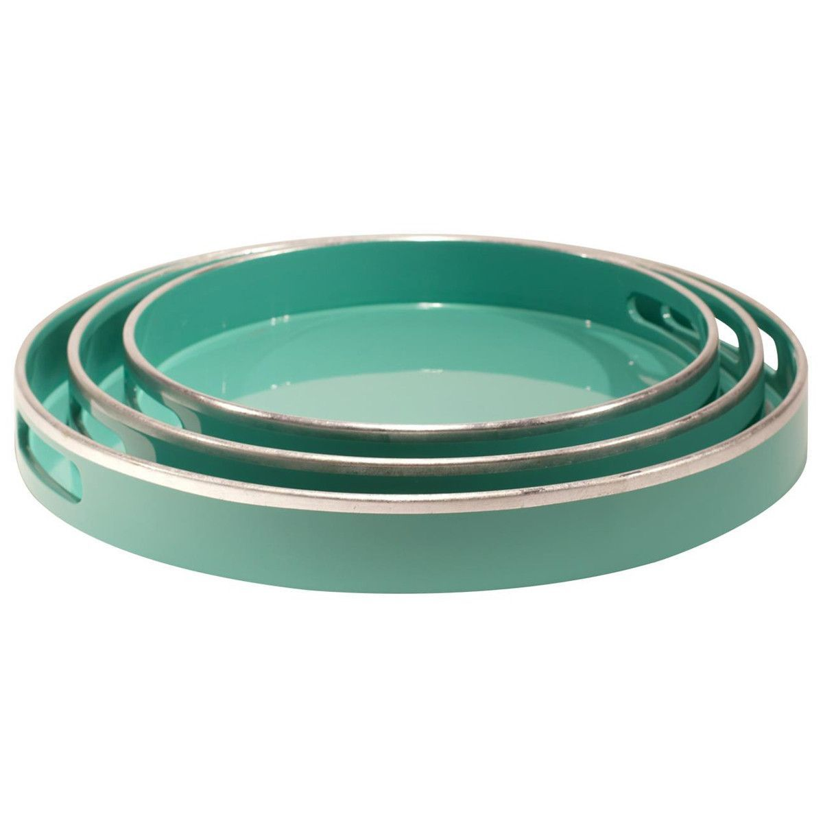 Round Decorative Tray Bungalow 5 Chiffany Round Nesting Trays In Blue  Bungalow And