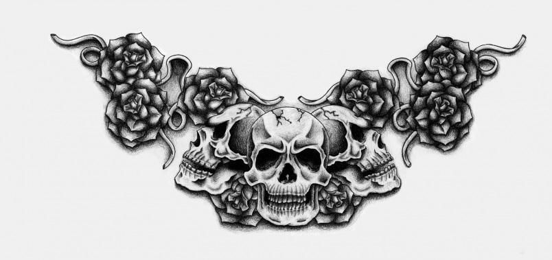 Skull and roses tattoo black and white -  http://tattoosnet.com/skull-and-roses-tattoo-black-and-white.html  http://tattoosnet.com/wp-content/uploads/2014/03/Skull-and-roses-tattoo-enatheconqueror-0002.jpg