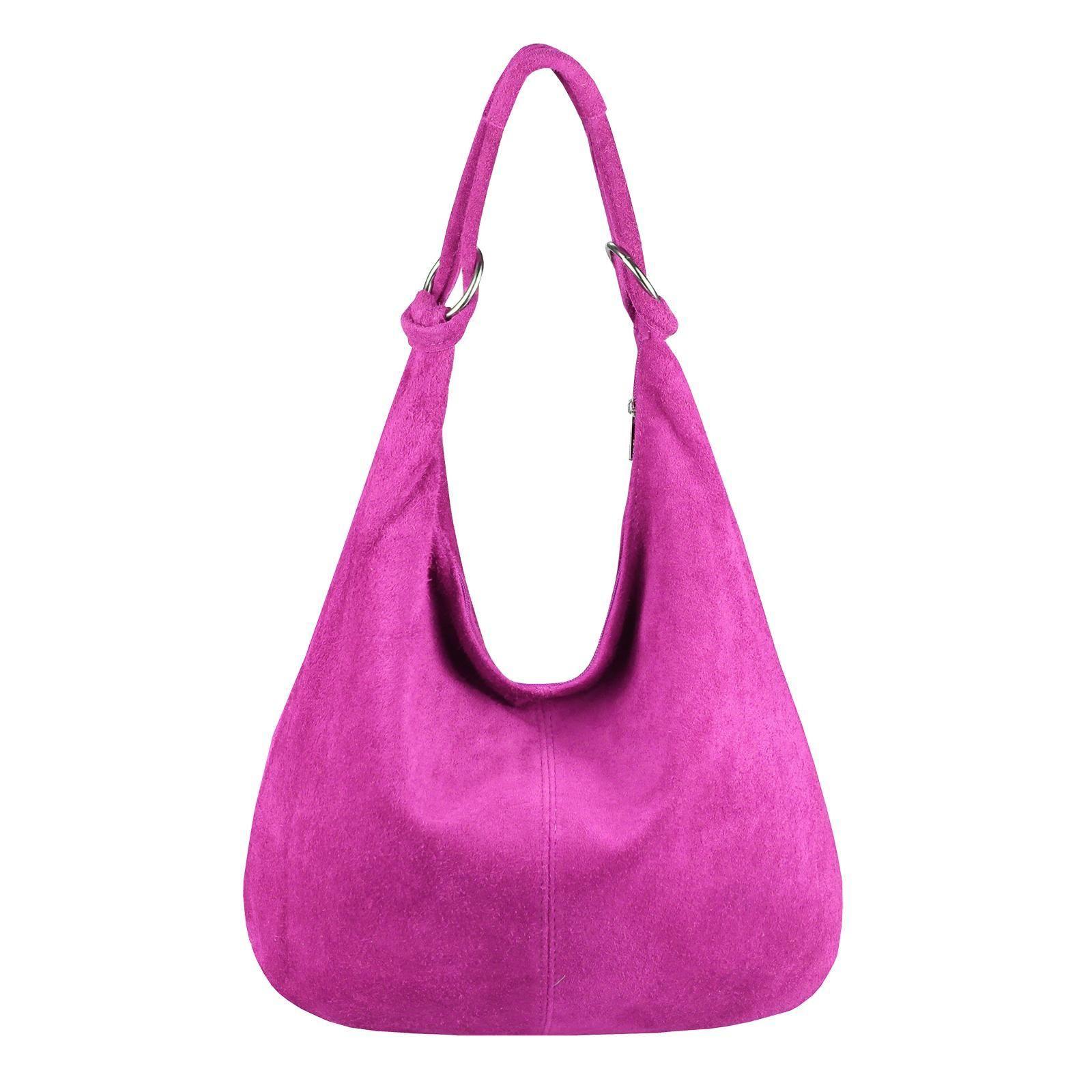 4559ce712b28fd Made in Italy Damen XXL Ledertasche Wildleder Shopper Tasche Schultertasche  Umhängetasche Hobo-Bag Beuteltasche 41x34x12