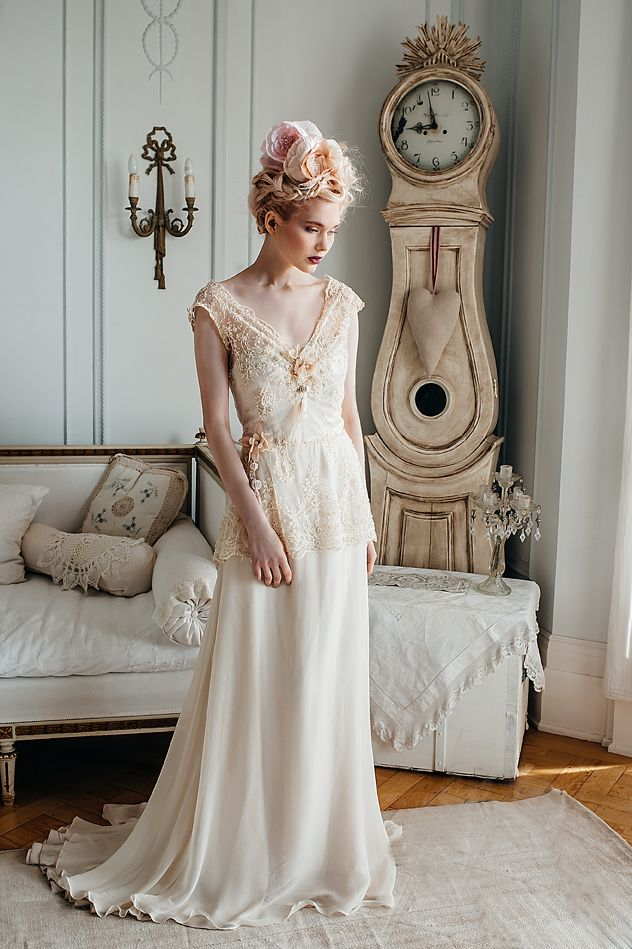 Lily-Elsie\' champagne beaded lace and silk chiffon wedding dress www ...