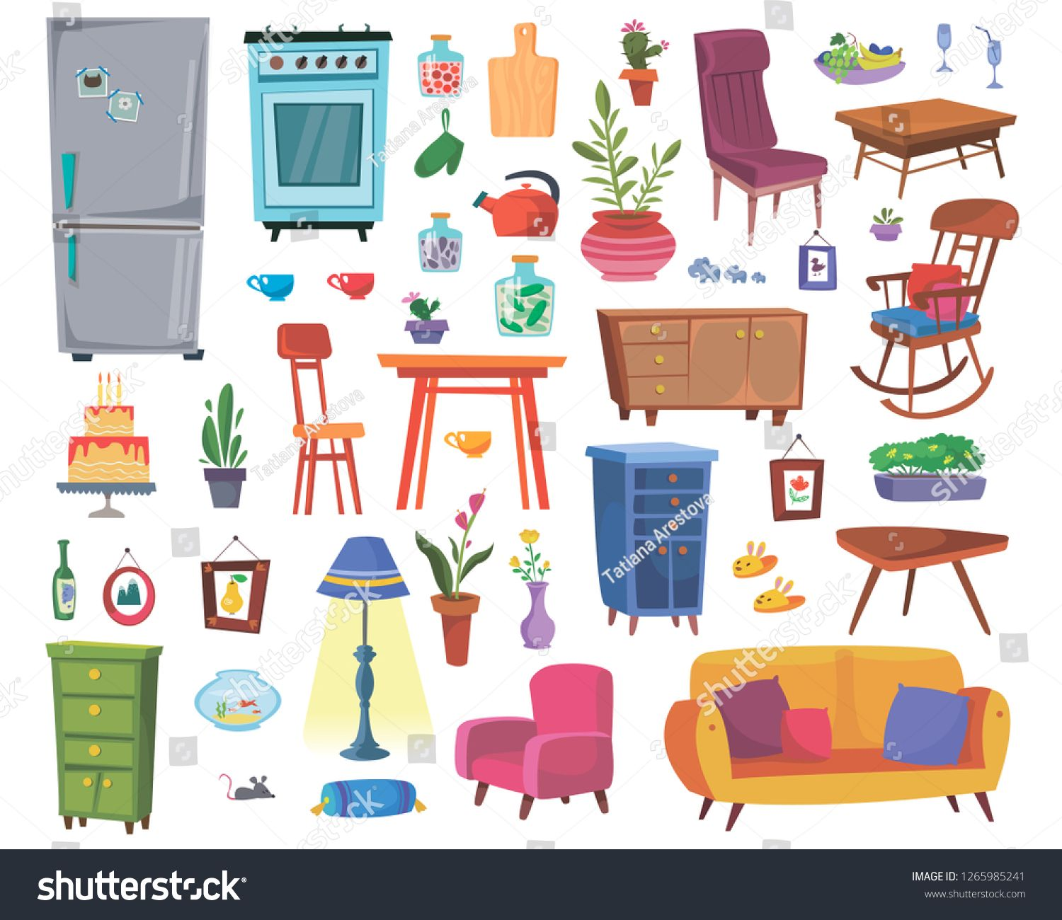 Large Set Of Furniture And Interior Items Kitchen Furnishings Living Room Or Study Vector In Cartoon Style Spo Kitchen Furnishings Cartoon Styles Interior