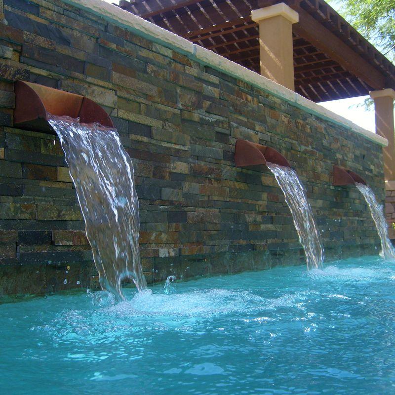 Copper Pool Scuppers Backyard Pinterest Spa Design