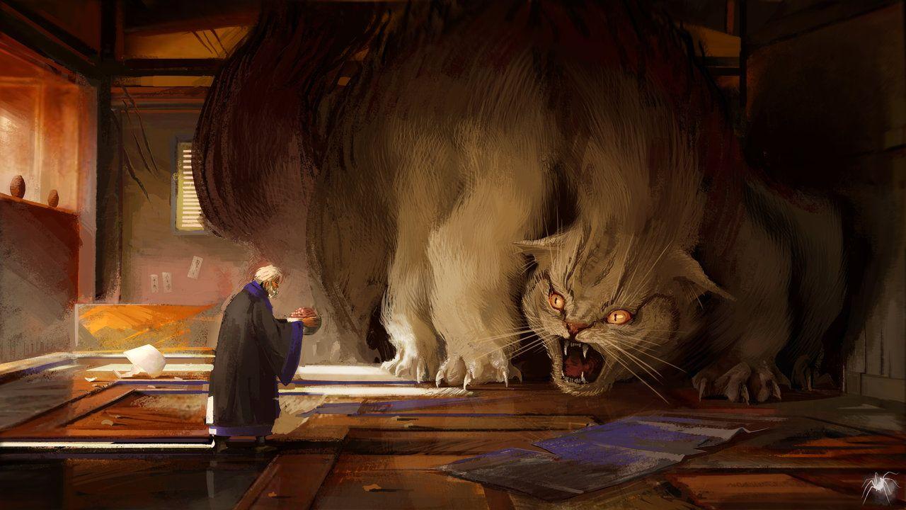 Bakeneko by Reicheran scared hissing giant cat kitten
