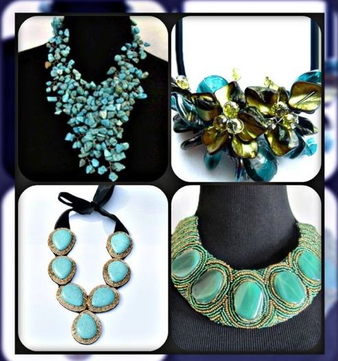 A sea of jewels - awesome blue/geen collage of our Cayetano Legacy statement necklaces!