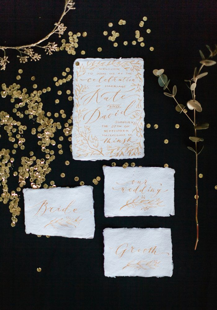 Gold wedding invitation | fabmood.com