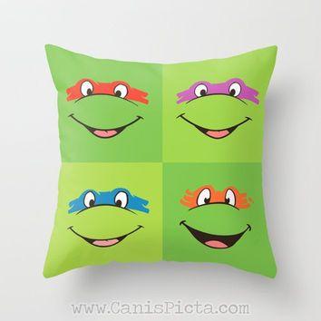 TMNT Teenage Mutant Ninja Turtles Throw Pillow 16x16 Decorative Cover Pop Culture Television Show Gift Him Fun Green Movie Cartoon Orange