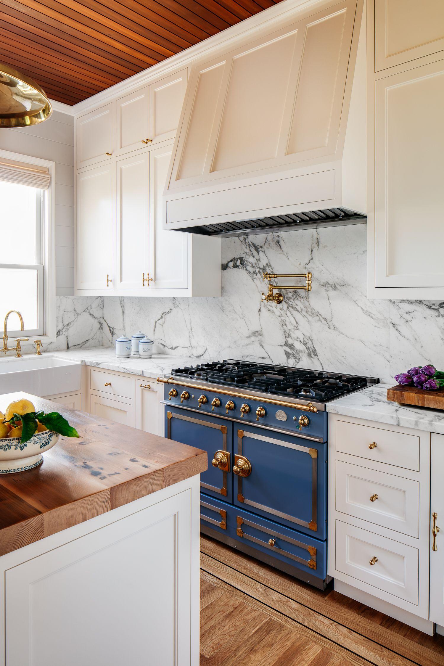 Classic French La Cornue Range In Royal Blue Create A Culinary Focus The Restoration Hardware P Interior Design Kitchen La Cornue Kitchen Kitchen Refinishing