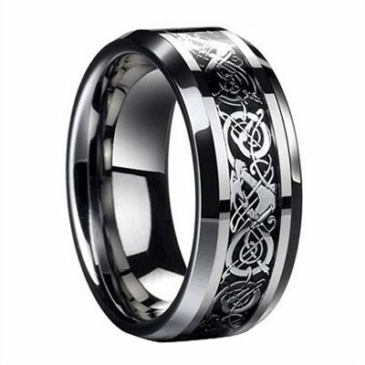 Designer Mens Black Titanium Cathedral Cross Ring 9mm MBT1001