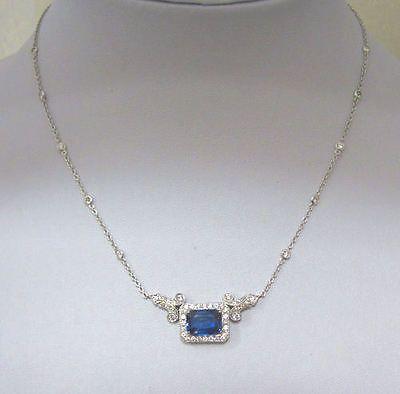 70% OFF AMAZING 3.85CT LARGE SAPPHIRE DIAMOND 14K WHITE GOLD ART DECO NECKLACE!!